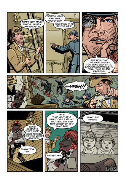 Page 12 of 'Perish With Difficulty (Upon an Airship)' from Professor Elemental Comics issue #5. Script by Adam Page, art by Joe Koziarski, letters by Chris Mole.