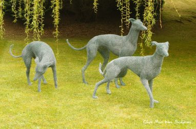 Lurchers at the Manor by chris moss wire sculptor in yorkshire