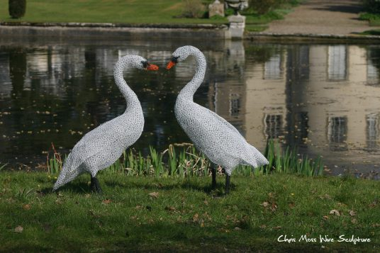 Swans At Thorp Perrow by chris moss wire sculptor in yorkshire