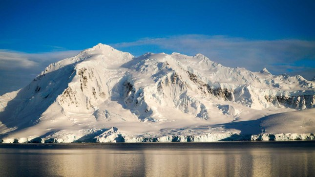 Snow capped mountains in Antarctica.