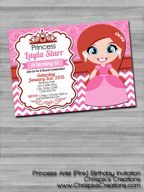 disney princess ariel birthday invitation the little mermaid
