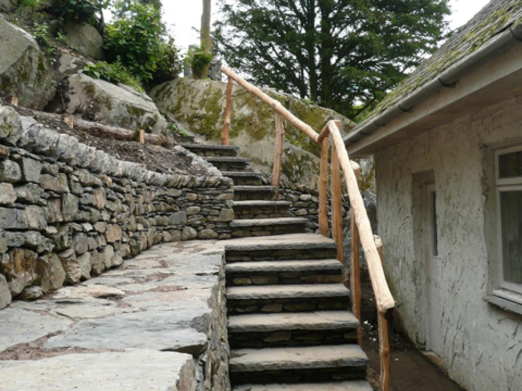 Hillside Dry Stone Walling Project Landscape Gardeners Cumbria   Wooden Handrail For Garden Steps   Stone Step   Free Standing   Metal   Wrought Iron   Front Door Step