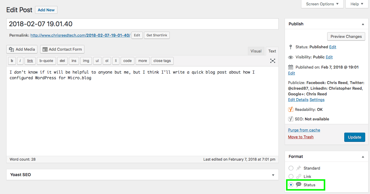 WordPress: Status Post Format