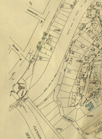 "Digitized map from the mid 1950s showing the old Red Car right-of-way snaking in from the top where today's Corralitas Trail exists. The old Fletcher Drive ""steel trestle"" Bridge is at the bottom left of the map, passing behind the gas station on one corner (now an Arco) and the lot where Home restaurant is now located on the other corner (Image property of the Sanborn Map Company)."