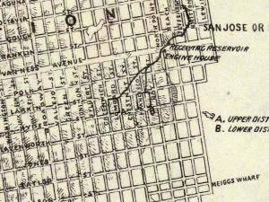 Location of the old Russian Hill reservoirs. 1861 Wackenreuder map, courtesy of the David Rumsey Map Collection.
