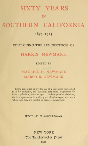 Sixty Years in Southern California, 1853-1913, by Harris Newmark. Image from Project Gutenberg.