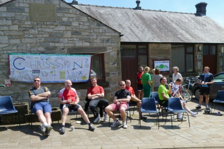 The lunch stop in Great Longstone village hall