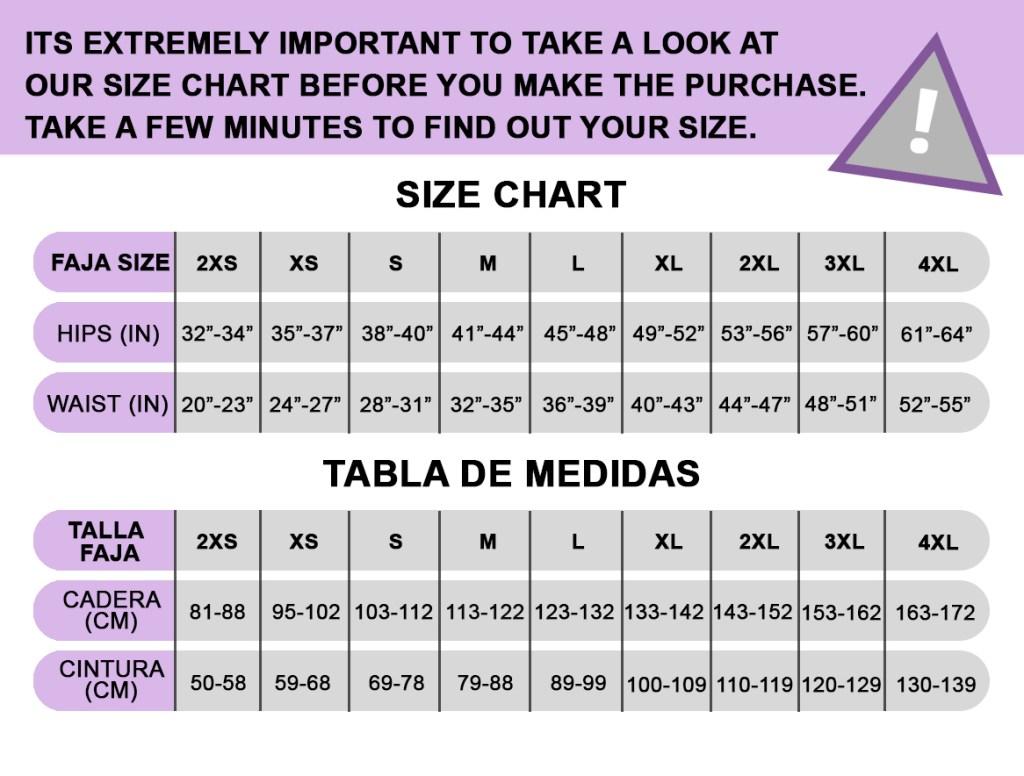 Faja size chart