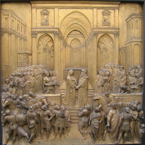 Salomon trifft die Königin von Saba; Relief von Lorenzo Ghiberti an der bronzenen Paradiespforte des Baptisteriums in Florenz, 1425ff. Quelle: Wikipedia