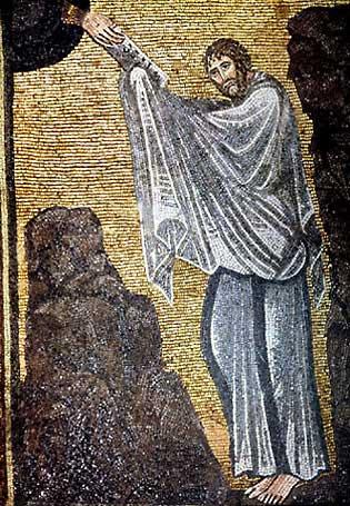 Gott selbst offenbart die Grundgebote des Glaubens: Mose empfängt die zehn Gebote, Mosaik im Katharinenkloster (Sinai), 6. Jahrhundert