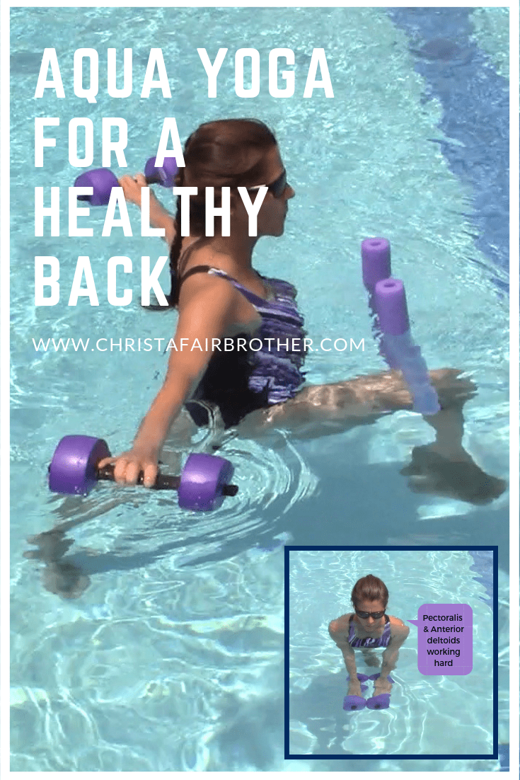 aqua yoga in the pool with two barbells and a noodle