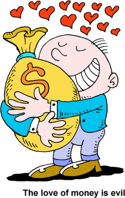 man hugging bag of money