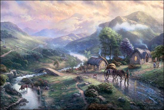 Thomas Kinkade  Emerald Valley  Paper and Canvas Art