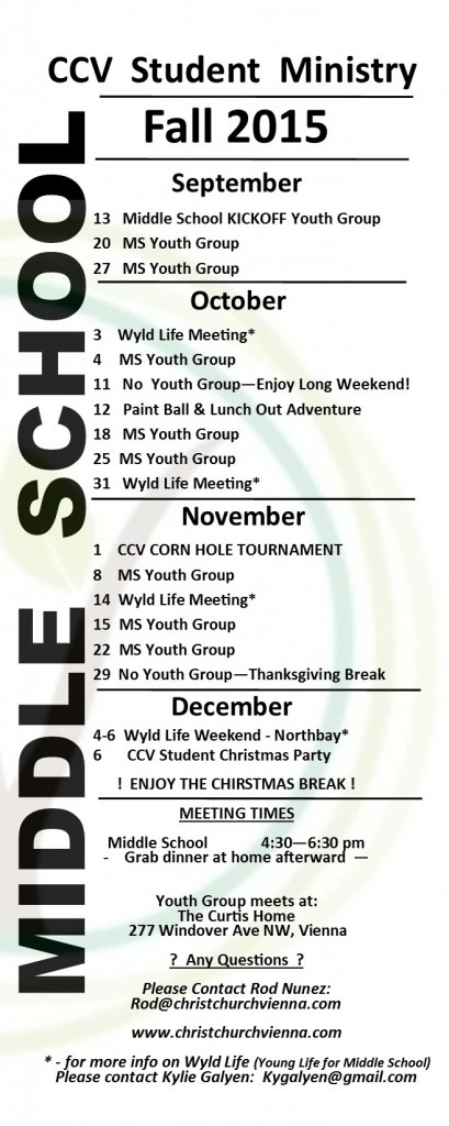Student Calendar · Christ Church Vienna