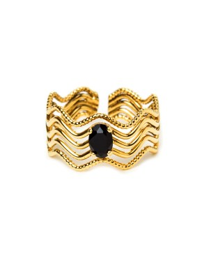 Livie : Ring gilded with fine gold and black swarovski gemstones