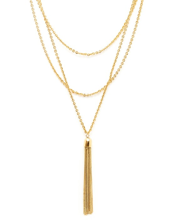 Sophia : Long necklace combining chains and pompom gilded with fine gold