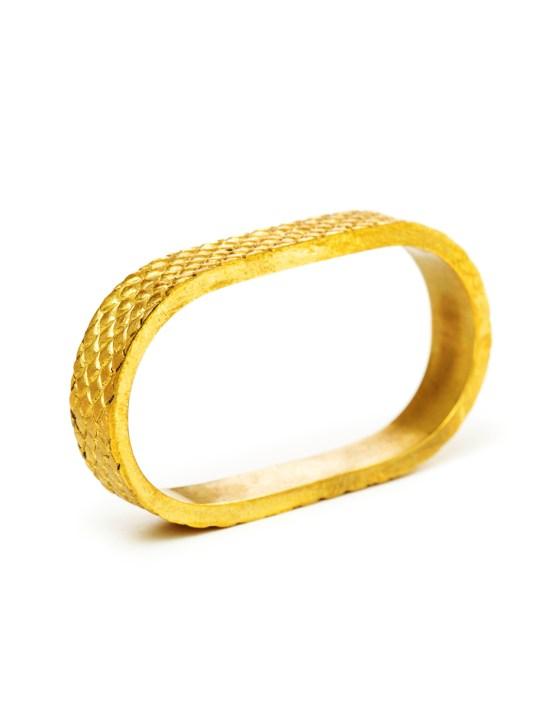 Bague 2 doigts peau de serpent doré à l'or Taïs