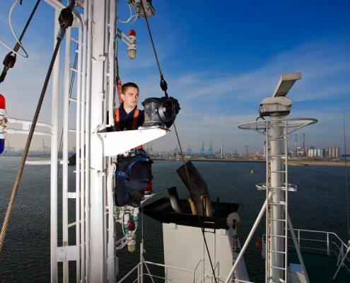 An Bord eines Containerschiffes. Foto: Christian Ahrens