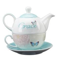 Kitchen Pot Sets Backsplash Tile Grace Butterfly Blessings Tea For One Set