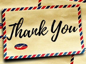 Letters of Thanks – July 2018