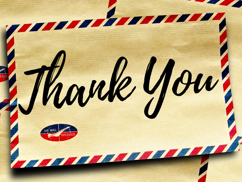 Letters of Thanks – January 2018