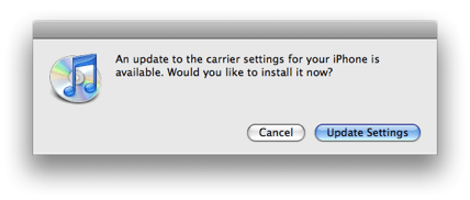 update to the carrier settings dialog box