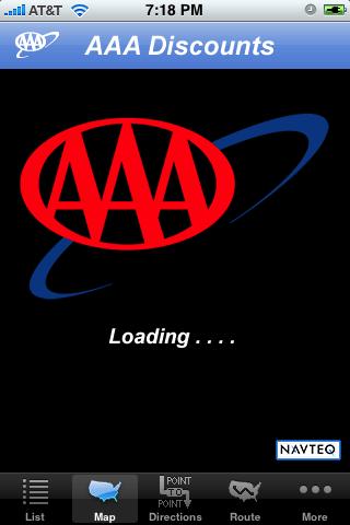iPhone app AAA Discounts opening screen