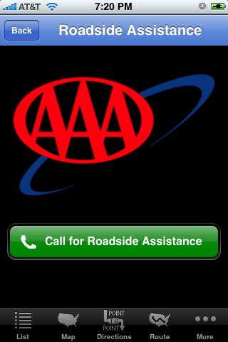 iPhone app AAA discounts call for roadside assistance