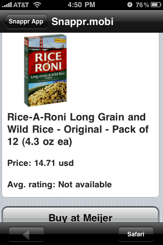 Snappr Rice-a-Roni image and info