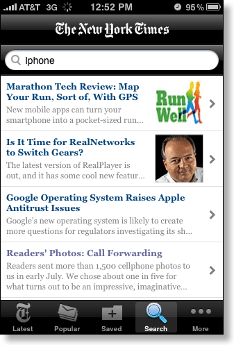 iPhone New York Times search