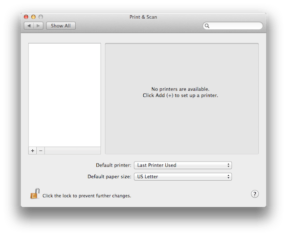 After resetting the Printing System in the Print & Scan Mac preference pane-- no printers!