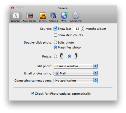 iPhoto General Preferences