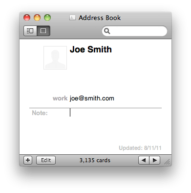 Joe's card-- with the correct email address (joe@smith.com)
