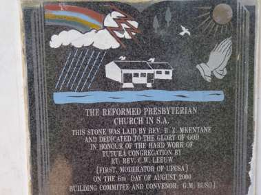 Plaque commemorating church