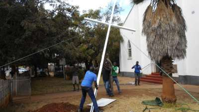 Setting the Cross in place