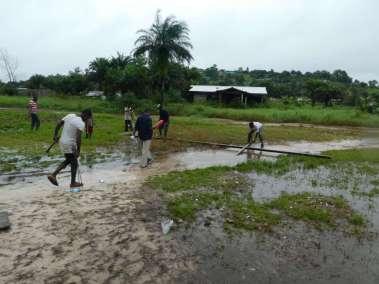 Laying Cross in rain water