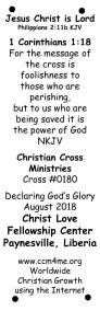 Plaque Declaring God's Glory Over Liberia