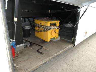 Loading portable welder on to the bus
