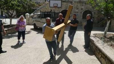 Cross Arrives For Prayer Garden