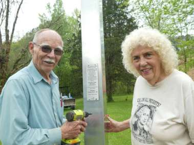 Mary Ann (age 84) and Leavy Rentz (age 77) Attaching Plaque