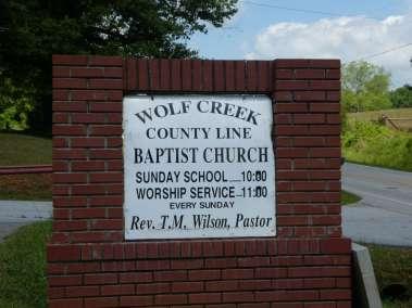 Wolf Creek County Line Church Sign