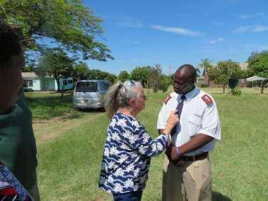 Pastor Carol sharing with Pastor Majomeka Misheck