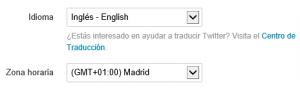 Selector de idioma en la cuenta de Twitter