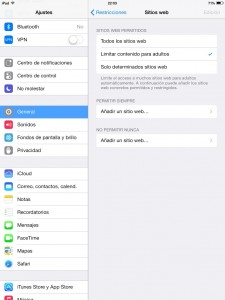 Bloquear páginas web con contenidos para adultos en el iPad (en el iPod y iPhone es similar)