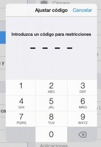 Código para las restricciones (conviene que sea diferente al de bloqueo del terminal si lo tiene)