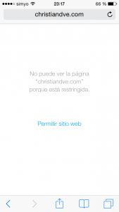 Página web filtrada por las restricciones de iOS