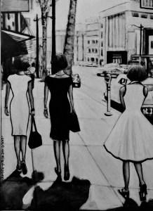 Une toile représentant des femmes qui marchent dans la rue