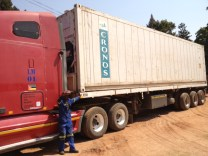 Shipping container on the truck