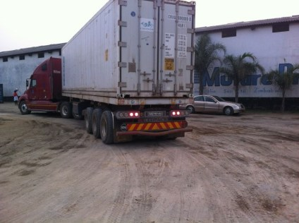 The truck arrives