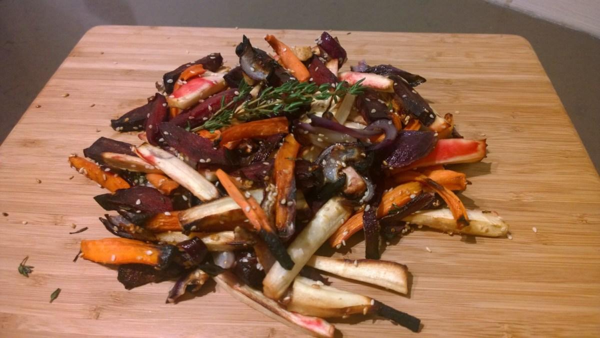 Gegrilde groenten met sesamhoning glazuur